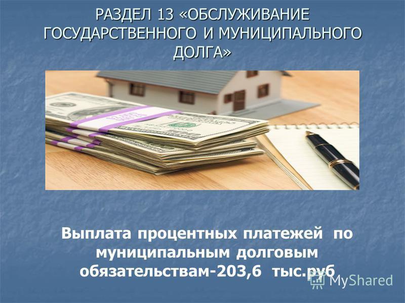 РАЗДЕЛ 13 «ОБСЛУЖИВАНИЕ ГОСУДАРСТВЕННОГО И МУНИЦИПАЛЬНОГО ДОЛГА» Выплата процентных платежей по муниципальным долговым обязательствам-203,6 тыс.руб