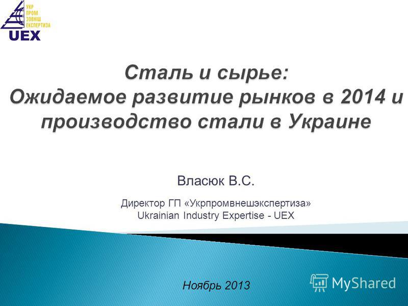 Власюк В.С. Директор ГП «Укрпромвнешэкспертиза» Ukrainian Industry Expertise - UEX Ноябрь 2013