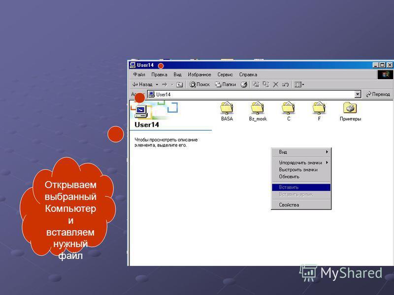 Открываем выбранный Компьютер и вставляем нужный файл