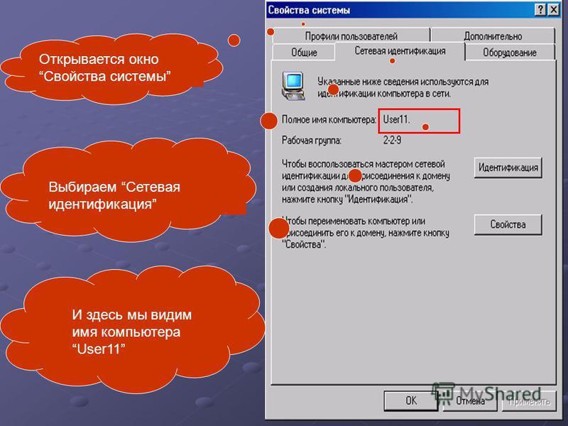 Открывается окно Свойства системы Выбираем Сетевая идентификация И здесь мы видим имя компьютера User11