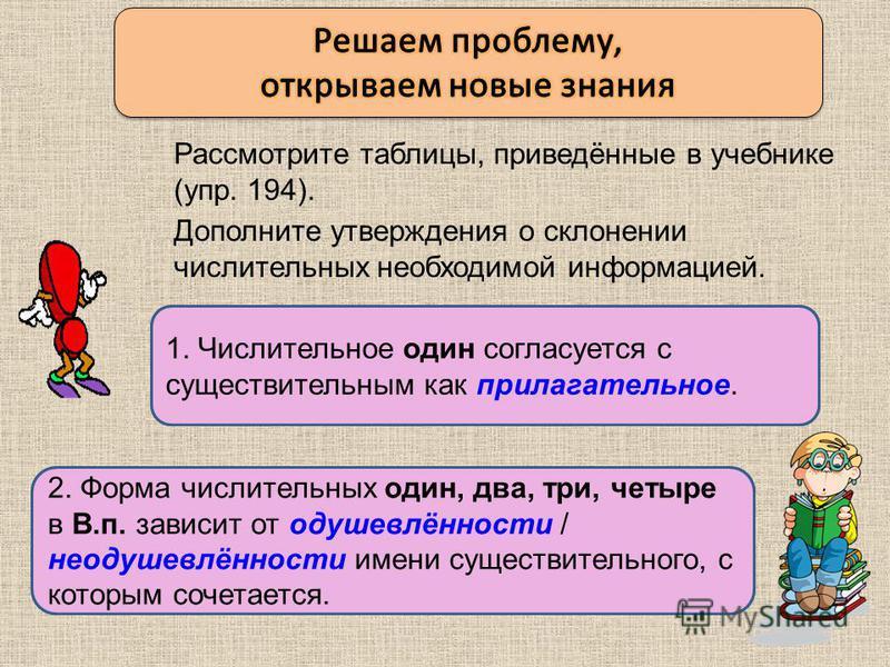 1. Числительное один согласуется с существительным как ………….. Рассмотрите таблицы, приведённые в учебнике (упр. 194). 2. Форма числительных один, два, три, четыре в В.п. зависит от _________________________ __________________имени существительного, с