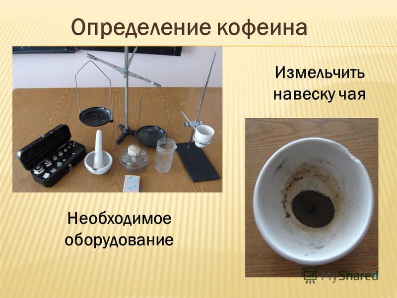 Определение кофеина Необходимое оборудование Измельчить навеску чая
