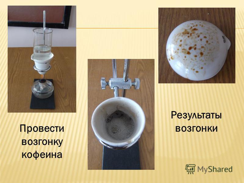 Провести возгонку кофеина Результаты возгонки