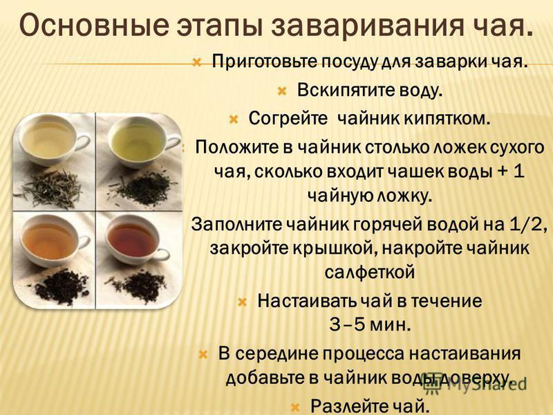 Приготовьте посуду для заварки чая. Вскипятите воду. Согрейте чайник кипятком. Положите в чайник столько ложек сухого чая, сколько входит чашек воды + 1 чайную ложку. Заполните чайник горячей водой на 1/2, закройте крышкой, накройте чайник салфеткой