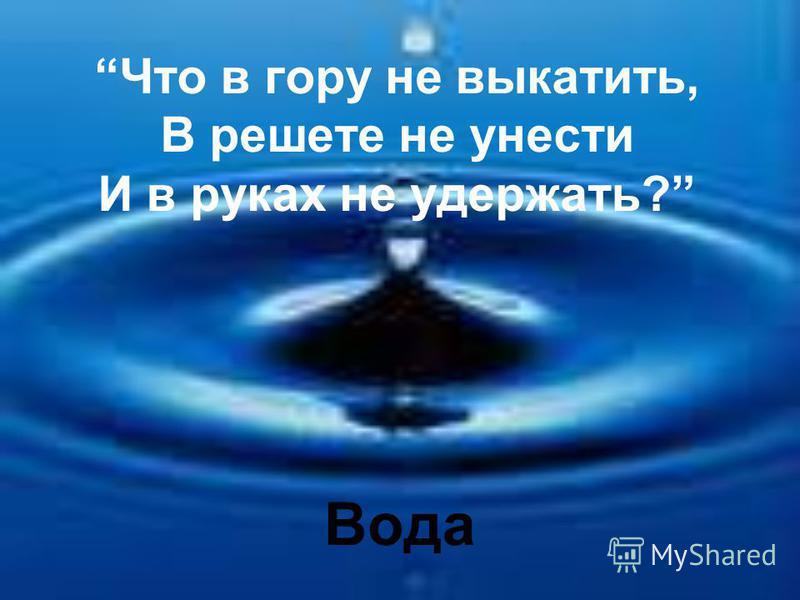 Что в гору не выкатить, В решете не унести И в руках не удержать? Вода