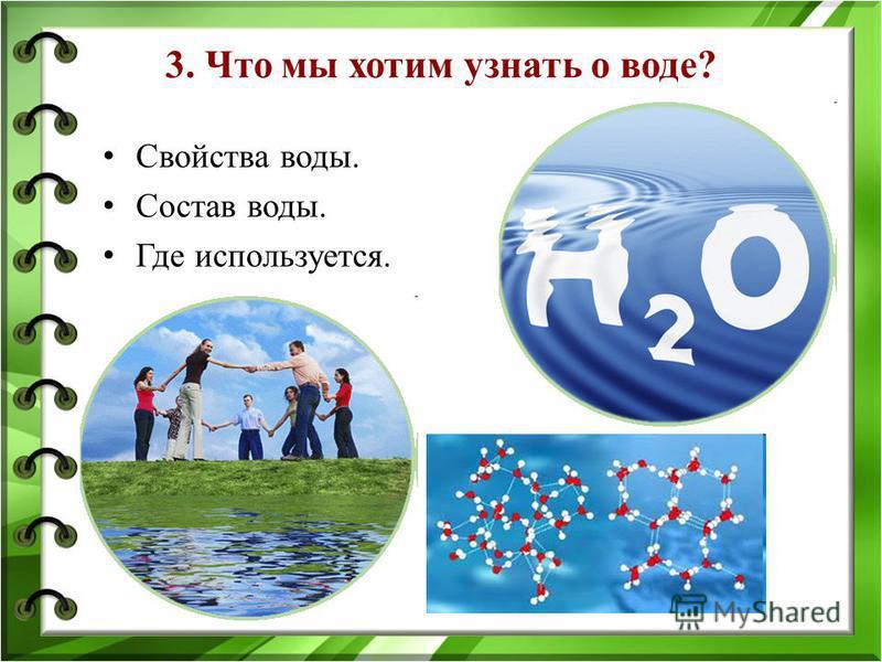 3. Что мы хотим узнать о воде? Свойства воды. Состав воды. Где используется.