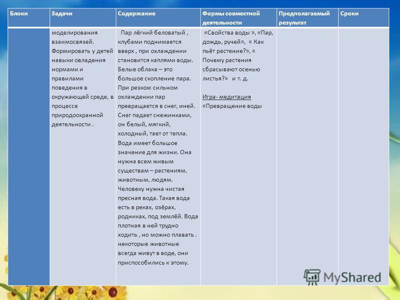 Блоки ЗадачиСодержание Формы совместной деятельности Предполагаемый результат Сроки моделирования взаимосвязей. Формировать у детей навыки овладения нормами и правилами поведения в окружающей среде, в процессе природоохранной деятельности. Пар лёгкий