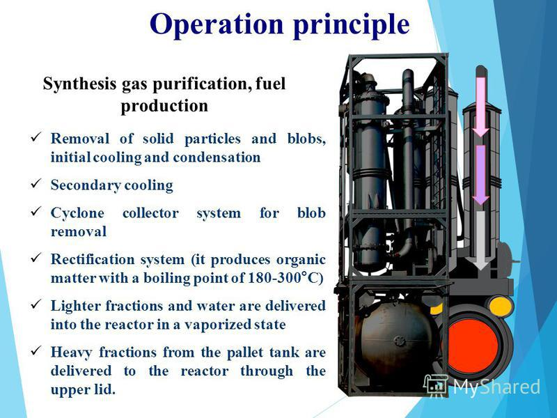 Operation principle Synthesis gas purification, fuel production Removal of solid particles and blobs, initial cooling and condensation Secondary cooling Cyclone collector system for blob removal Rectification system (it produces organic matter with a