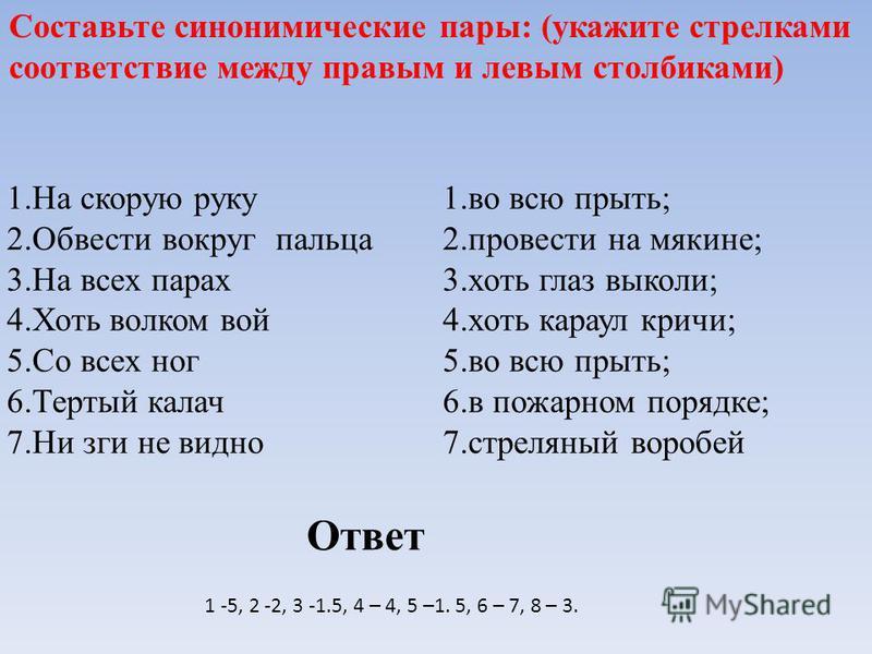 Составьте синонимические пары: (укажите стрелками соответствие между правым и левым столбиками) 1. На скорую руку 2. Обвести вокруг пальца 3. На всех парах 4. Хоть волком вой 5. Со всех ног 6. Тертый калач 7. Ни зги не видно 1. во всю прыть; 2. прове