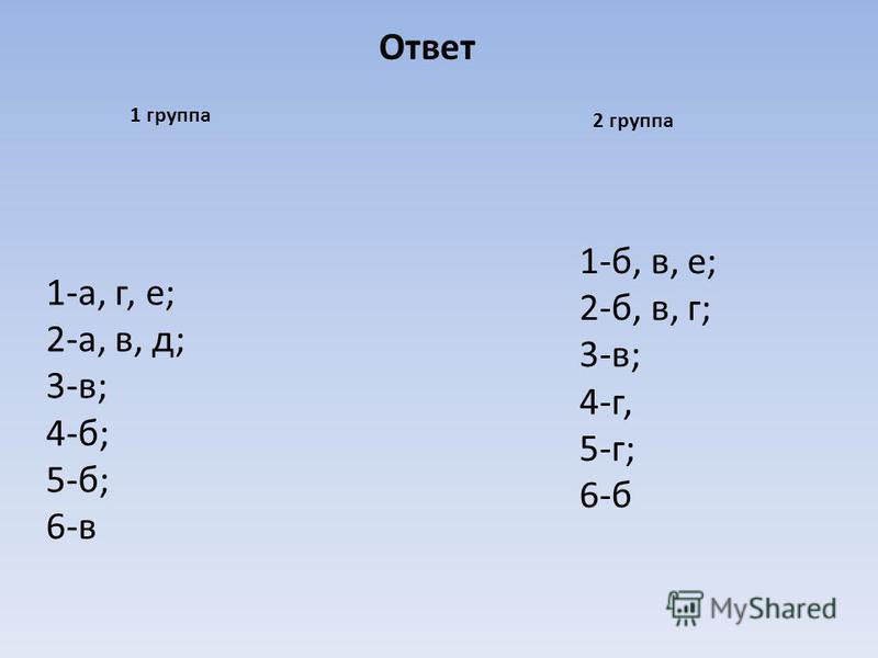 1-а, г, е; 2-а, в, д; 3-в; 4-б; 5-б; 6-в 1-б, в, е; 2-б, в, г; 3-в; 4-г, 5-г; 6-б 1 группа 2 группа Ответ