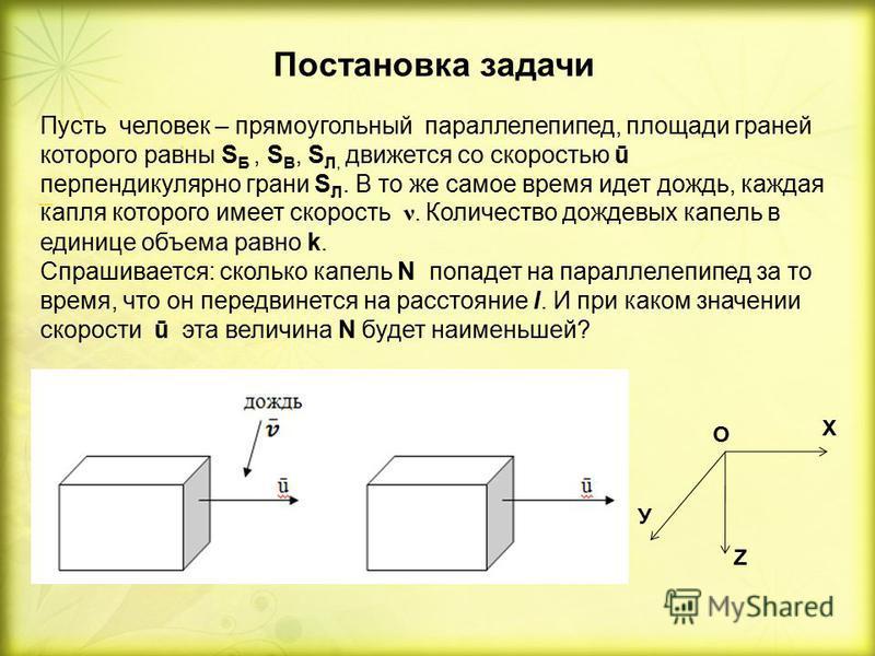 Постановка задачи Пусть человек – прямоугольный параллелепипед, площади граней которого равны S Б, S B, S Л, движется со скоростью ū перпендикулярно грани S Л. В то же самое время идет дождь, каждая капля которого имеет скорость ν. Количество дождевы