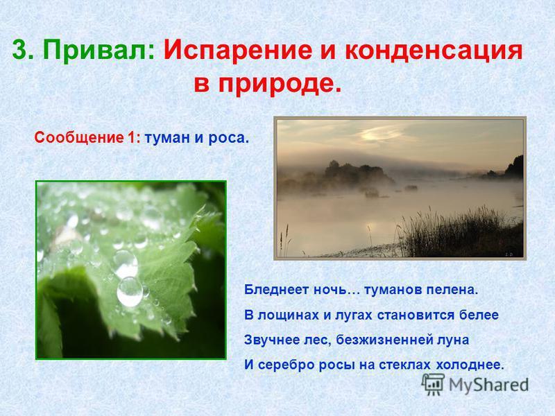 3. Привал: Испарение и конденсация в природе. Бледнеет ночь… туманов пелена. В лощинах и лугах становится белее Звучнее лес, безжизненной луна И серебро росы на стеклах холоднее. Сообщение 1: туман и роса.