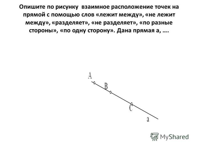 Опишите по рисунку взаимное расположение точек на прямой с помощью слов «лежит между», «не лежит между», «разделяет», «не разделяет», «по разные стороны», «по одну сторону». Дана прямая а, ….