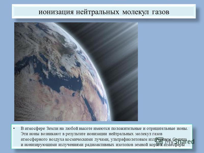 ионизация нейтральных молекул газов В атмосфере Земли на любой высоте имеются положительные и отрицательные ионы. Эти ионы возникают в результате ионизации нейтральных молекул газов атмосферного воздуха космическими лучами, ультрафиолетовым излучение