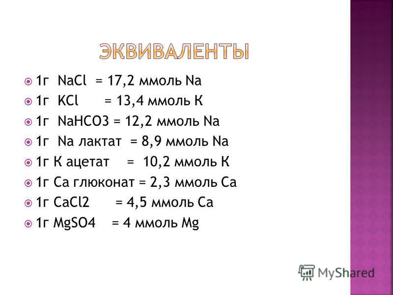 1 г NaCl = 17,2 ммоль Na 1 г KCl = 13,4 ммоль К 1 г NaHCO3 = 12,2 ммоль Na 1 г Na лактат = 8,9 ммоль Na 1 г К ацетат = 10,2 ммоль К 1 г Са глюконат = 2,3 ммоль Са 1 г CaCl2 = 4,5 ммоль Са 1 г MgSO4 = 4 ммоль Mg