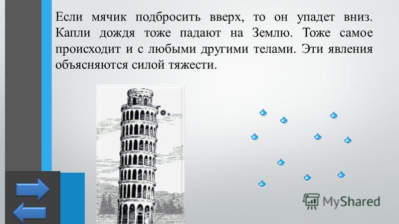 Если мячик подбросить вверх, то он упадет вниз. Капли дождя тоже падают на Землю. Тоже самое происходит и с любыми другими телами. Эти явления объясняются силой тяжести.