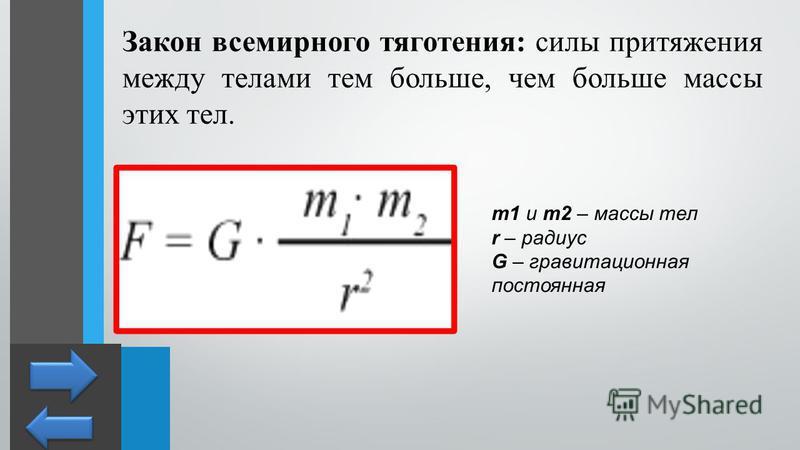 Закон всемирного тяготения: силы притяжения между телами тем больше, чем больше массы этих тел. m1 и m2 – массы тел r – радиус G – гравитационная постоянная