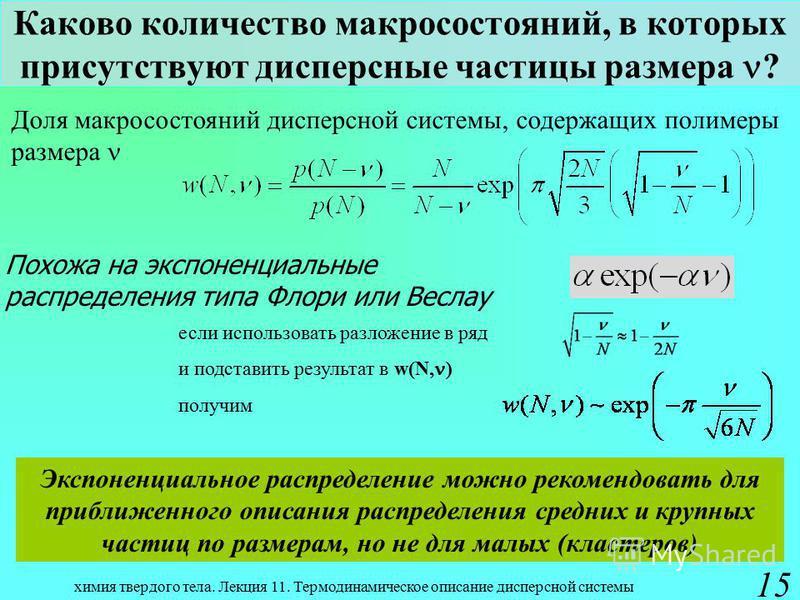 химия твердого тела. Лекция 11. Термодинамическое описание дисперсной системы 15 Каково количество макро состояний, в которых присутствуют дисперсные частицы размера ? Доля макро состояний дисперсной системы, содержащих полимеры размера Похожа на экс