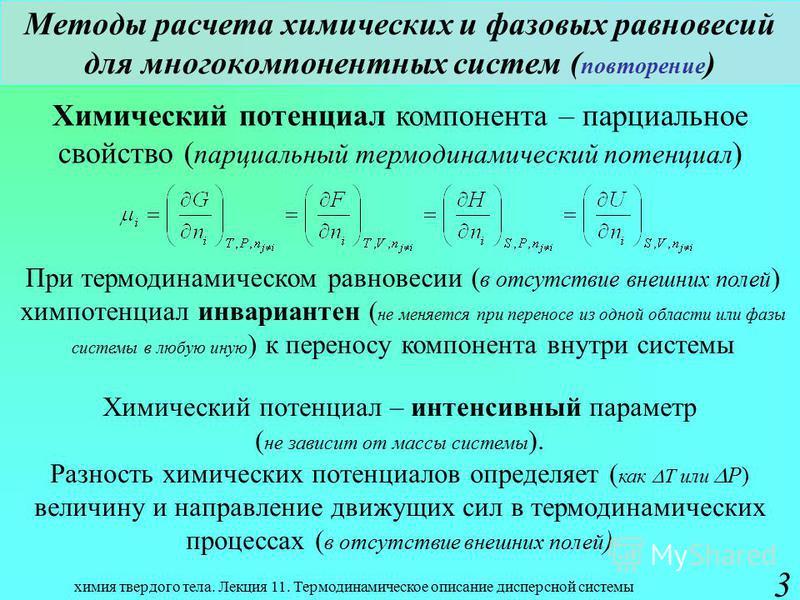 химия твердого тела. Лекция 11. Термодинамическое описание дисперсной системы 3 Методы расчета химических и фазовых равновесий для многокомпонентных систем ( повторение ) Химический потенциал компонента – парциальное свойство ( парциальный термодинам
