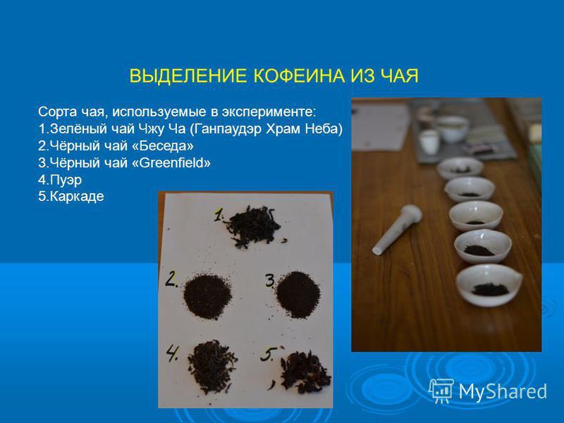 ВЫДЕЛЕНИЕ КОФЕИНА ИЗ ЧАЯ Сорта чая, используемые в эксперименте: 1.Зелёный чай Чжу Ча (Ганпаудэр Храм Неба) 2.Чёрный чай «Беседа» 3.Чёрный чай «Greenfield» 4. Пуэр 5.Каркаде