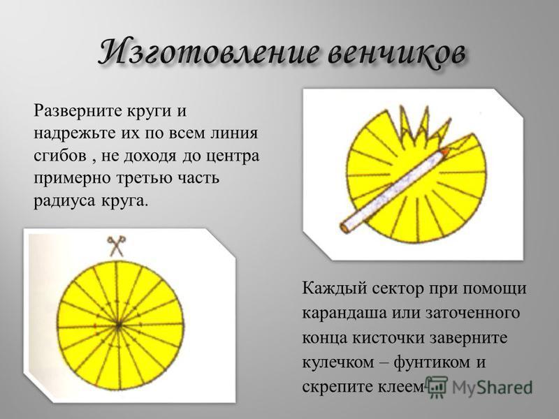 Разверните круги и надрежьте их по всем линия сгибов, не доходя до центра примерно третью часть радиуса круга. Каждый сектор при помощи карандаша или заточенного конца кисточки заверните кулечком – фунтиком и скрепите клеем