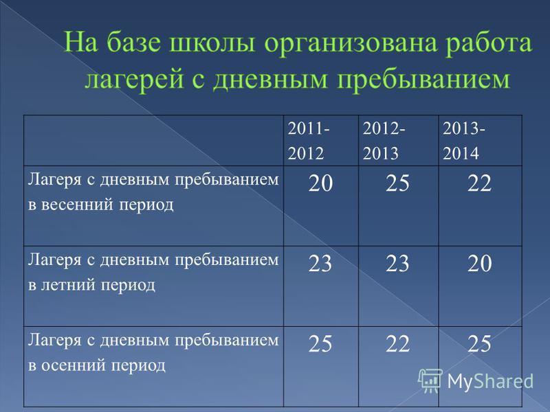 2011- 2012 2012- 2013 2013- 2014 Лагеря с дневным пребыванием в весенний период 202522 Лагеря с дневным пребыванием в летний период 23 20 Лагеря с дневным пребыванием в осенний период 252225