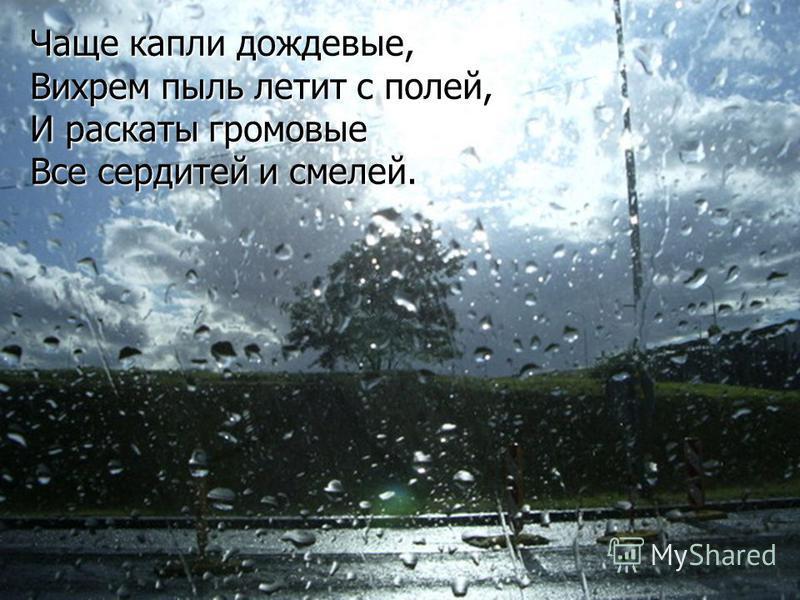 Чаще капли дождевые, Вихрем пыль летит с полей, И раскаты громовые Все сердитей и смелей.