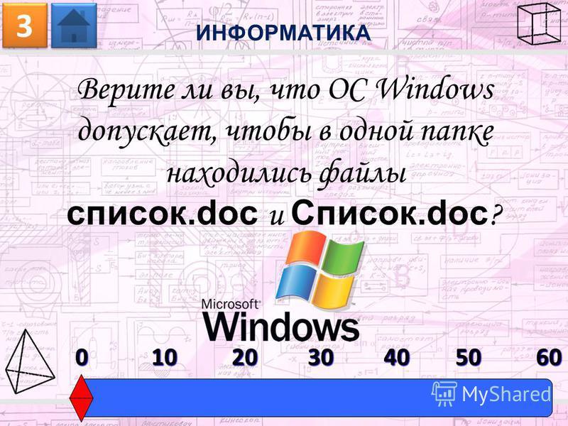 Верите ли вы, что ОС Windows допускает, чтобы в одной папке находились файлы список.doc и Список.doc ? ИНФОРМАТИКА 3 3 0603010204050