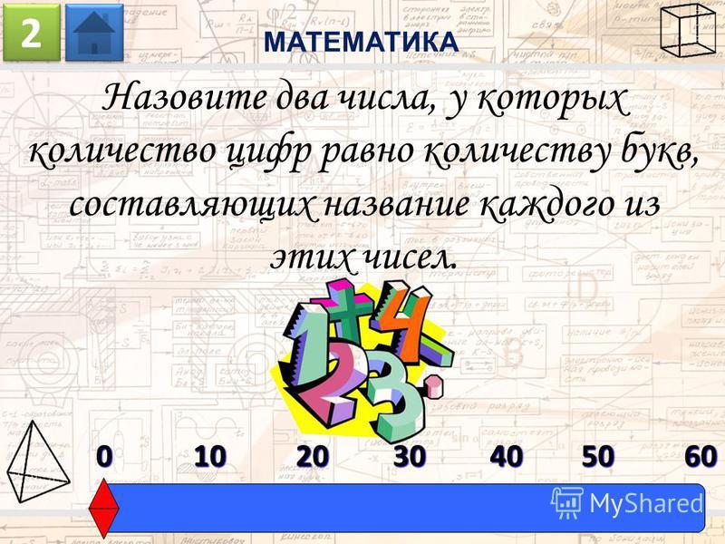 Назовите два числа, у которых количество цифр равно количеству букв, составляющих название каждого из этих чисел. МАТЕМАТИКА 2 2 0603010204050
