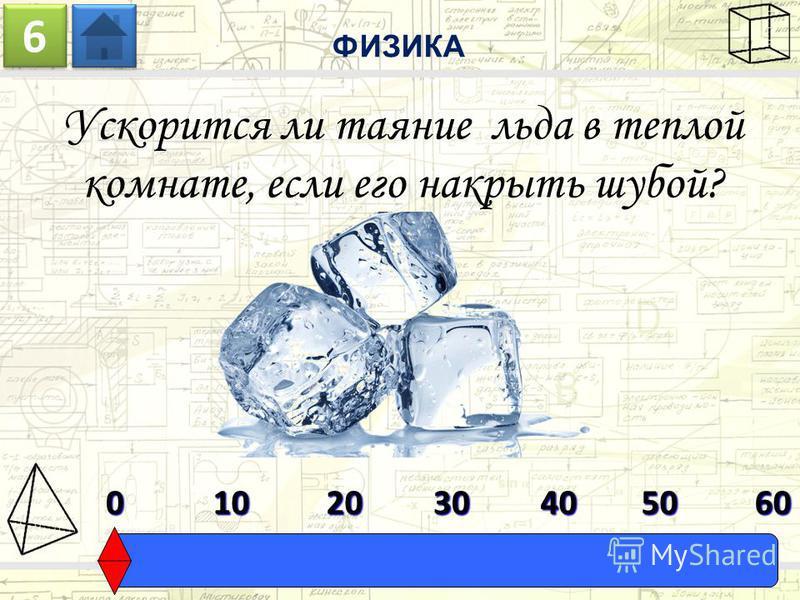 Ускорится ли таяние льда в теплой комнате, если его накрыть шубой? ФИЗИКА 6 6 0603010204050