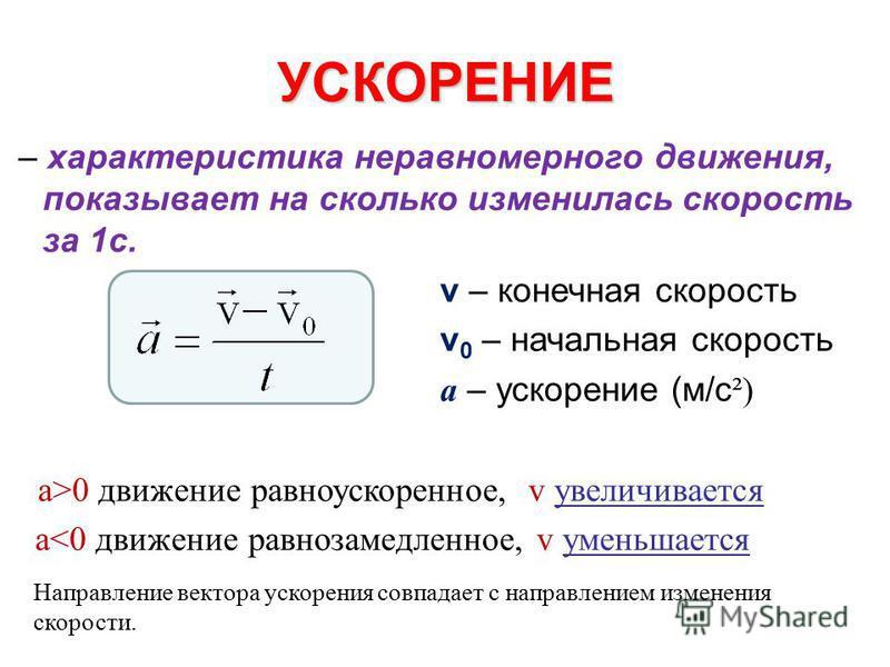 УСКОРЕНИЕ – характеристика неравномерного движения, показывает на сколько изменилась скорость за 1 с. v – конечная скорость v 0 – начальная скорость а – ускорение (м/с ²) а>0 движение равноускоренное, v увеличивается a