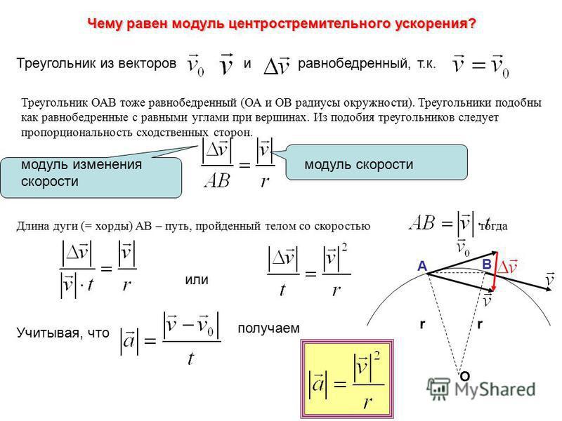Чему равен модуль центростремительного ускорения? Треугольник из векторов и равнобедренный, т.к. Треугольник ОАВ тоже равнобедренный (ОА и ОВ радиусы окружности). Треугольники подобны как равнобедренные с равными углами при вершинах. Из подобия треуг