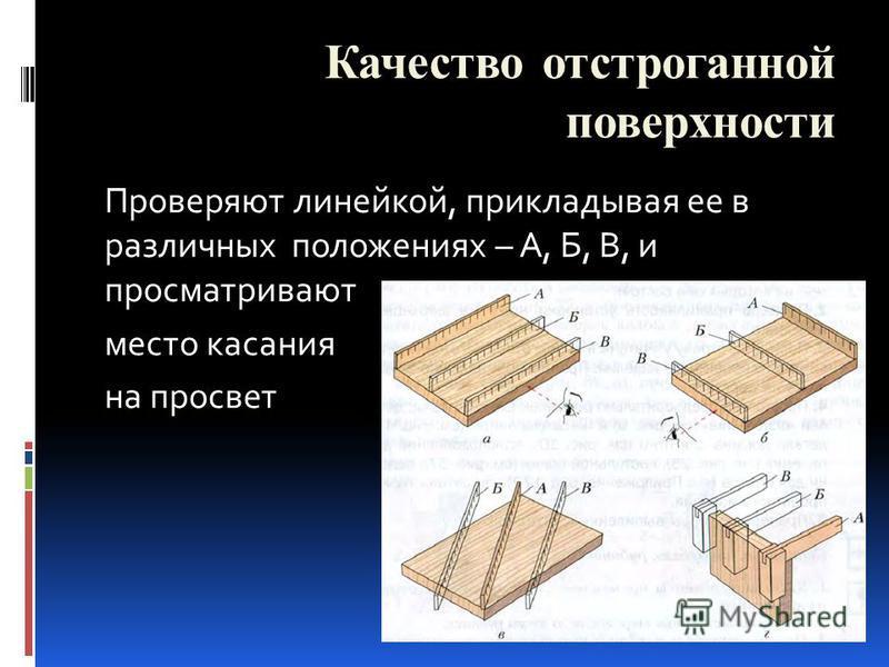 Проверяют линейкой, прикладывая ее в различных положениях – А, Б, В, и просматривают место касания на просвет Качество отстроганной поверхности