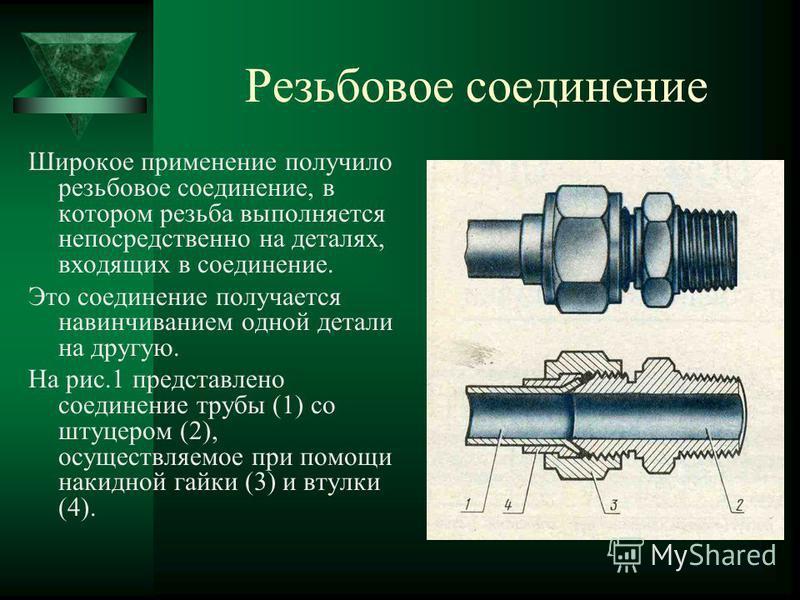 Резьбовое соединение Широкое применение получило резьбовое соединение, в котором резьба выполняется непосредственно на деталях, входящих в соединение. Это соединение получается навинчиванием одной детали на другую. На рис.1 представлено соединение тр