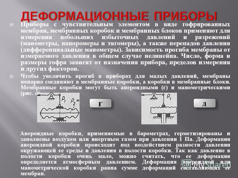 Приборы с чувствительным элементом в виде гофрированных мембран, мембранных коробок и мембранных блоков применяют для измерения небольших избыточных давлений и разрежений ( манометры, напоромеры и тягомеры ), а также перепадов давления ( дифференциал