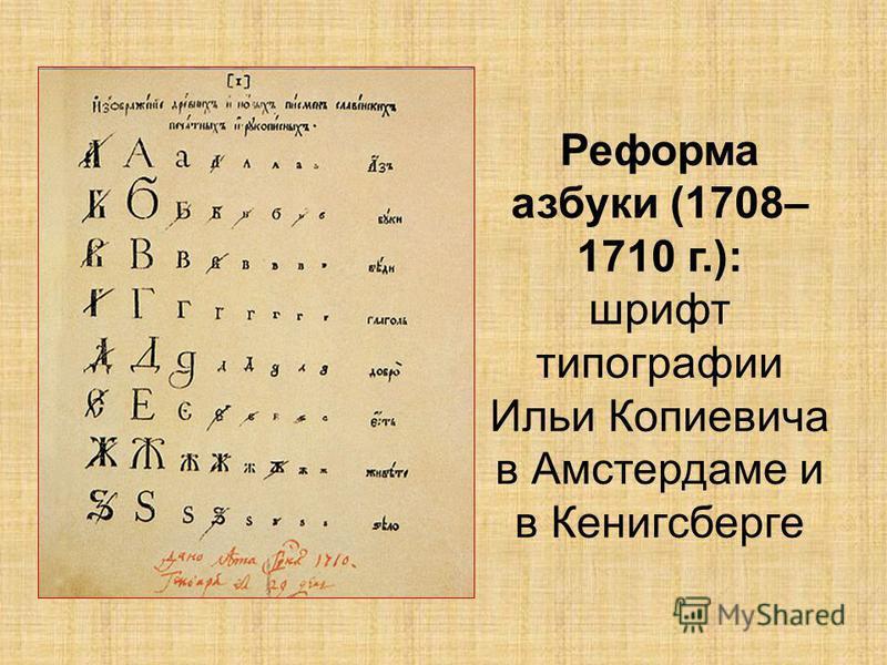 Реформа азбуки (1708– 1710 г.): шрифт типографии Ильи Копиевича в Амстердаме и в Кенигсберге