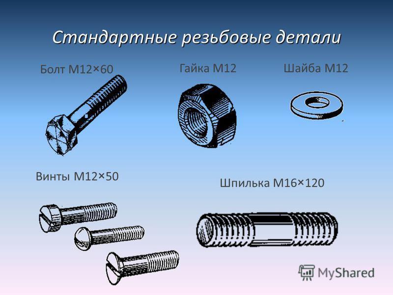Стандартные резьбовые детали Болт М12×60 Гайка М12Шайба М12 Винты М12×50 Шпилька М16×120