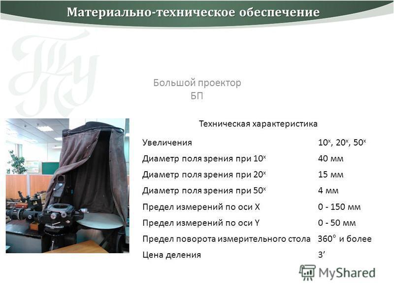 Большой проектор БП Техническая характеристика Увеличения 10 x, 20 x, 50 x Диаметр поля зрения при 10 x 40 мм Диаметр поля зрения при 20 x 15 мм Диаметр поля зрения при 50 x 4 мм Предел измерений по оси X 0 - 150 мм Предел измерений по оси Y 0 - 50 м