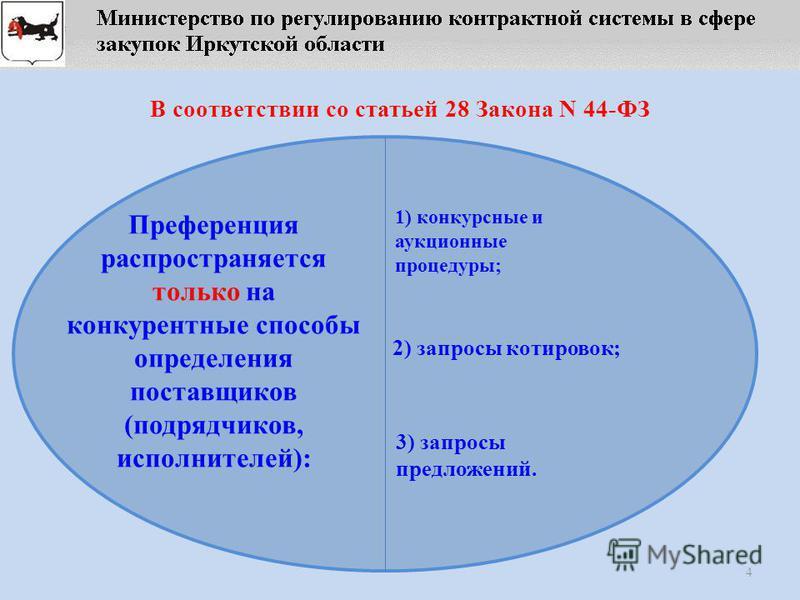 4 В соответствии со статьей 28 Закона N 44-ФЗ Преференция распространяется только на конкурентные способы определения поставщиков (подрядчиков, исполнителей): 1) конкурсные и аукционные процедуры; 2) запросы котировок; 3) запросы предложений.