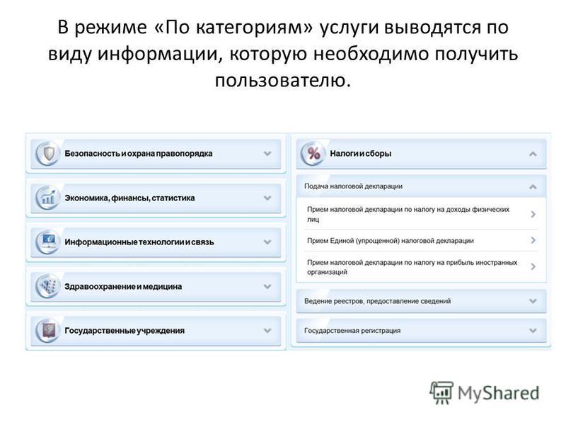 В режиме «По категориям» услуги выводятся по виду информации, которую необходимо получить пользователю.