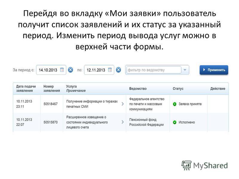 Перейдя во вкладку «Мои заявки» пользователь получит список заявлений и их статус за указанный период. Изменить период вывода услуг можно в верхней части формы.