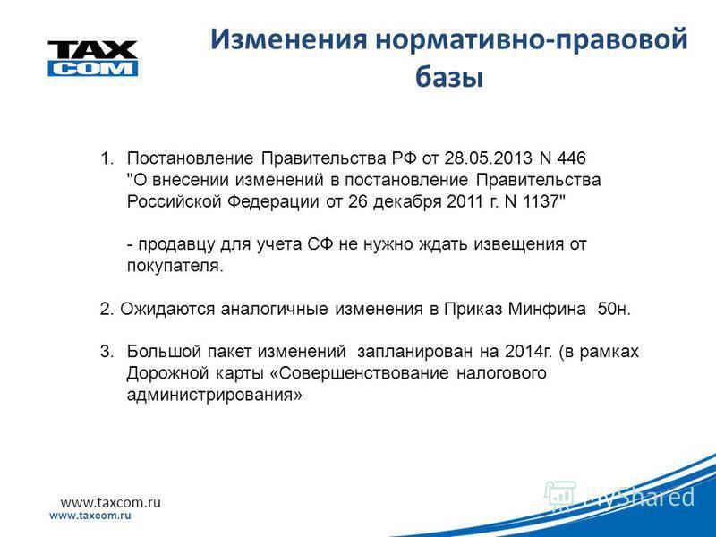 Образец заголовка www.taxcom.ru Изменения нормативно-правовой базы 1. Постановление Правительства РФ от 28.05.2013 N 446