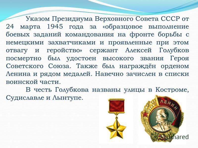 Указом Президиума Верховного Совета СССР от 24 марта 1945 года за «образцовое выполнение боевых заданий командования на фронте борьбы с немецкими захватчиками и проявленные при этом отвагу и геройство» сержант Алексей Голубков посмертно был удостоен