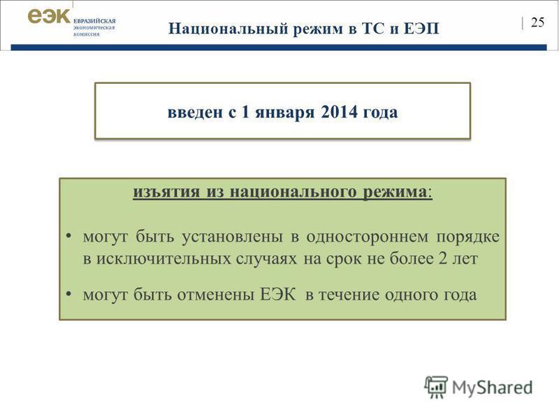 25 Национальный режим в ТС и ЕЭП изъятия из национального режима: могут быть установлены в одностороннем порядке в исключительных случаях на срок не более 2 лет могут быть отменены ЕЭК в течение одного года | 25 введен с 1 января 2014 года