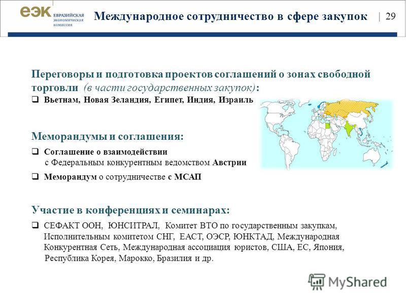 Международное сотрудничество в сфере закупок | 29 Переговоры и подготовка проектов соглашений о зонах свободной торговли (в части государственных закупок): Вьетнам, Новая Зеландия, Египет, Индия, Израиль Меморандумы и соглашения: Соглашение о взаимод
