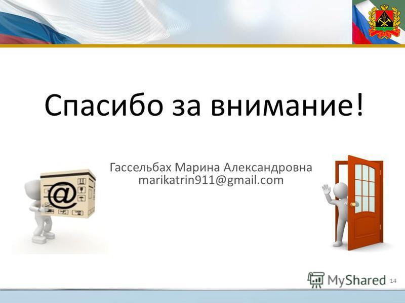 Спасибо за внимание! Гассельбах Марина Александровна marikatrin911@gmail.com 14
