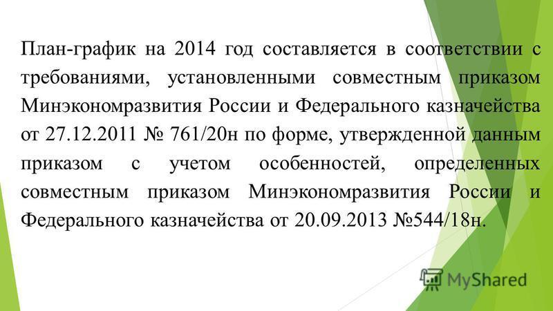 План-график на 2014 год составляется в соответствии с требованиями, установленными совместным приказом Минэкономразвития России и Федерального казначейства от 27.12.2011 761/20 н по форме, утвержденной данным приказом с учетом особенностей, определен