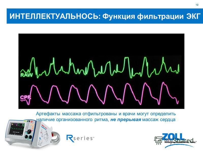 12 Артефакты массажа отфильтрованы и врачи могут определить наличие организованного ритма, не прерывая массаж сердца ИНТЕЛЛЕКТУАЛЬНОСЬ: Функция фильтрации ЭКГ