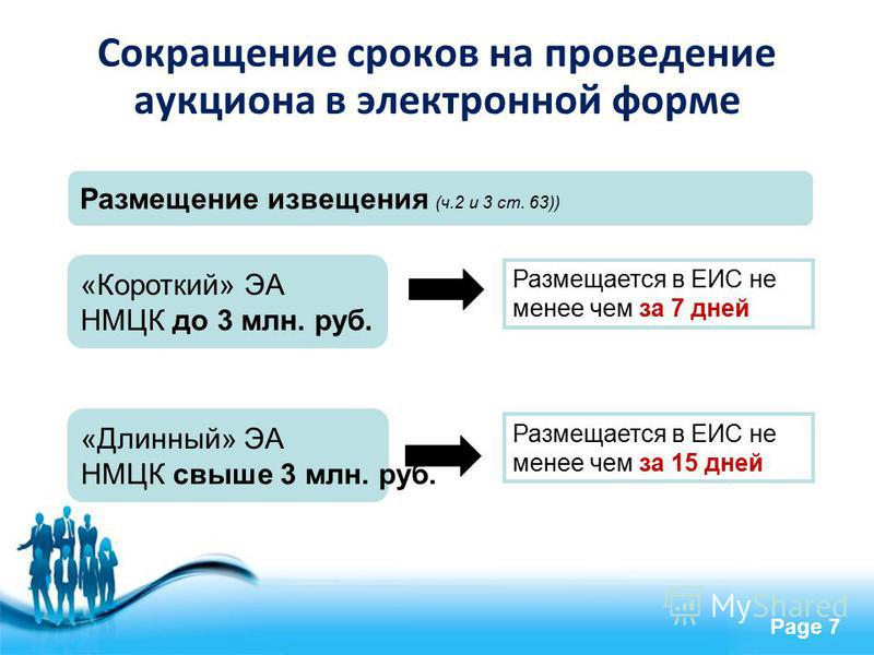 Free Powerpoint Templates Page 7 «Короткий» ЭА НМЦК до 3 млн. руб. Размещается в ЕИС не менее чем за 7 дней Размещается в ЕИС не менее чем за 15 дней Размещение извещения (ч.2 и 3 ст. 63)) «Длинный» ЭА НМЦК свыше 3 млн. руб. Сокращение сроков на пров