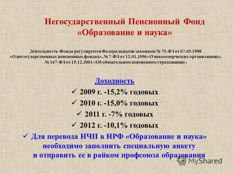 Доходность 2009 г. -15,2% годовых 2010 г. -15,0% годовых 2011 г. -7% годовых 2012 г. -10,1% годовых Для перевода НЧП в НРФ «Образование и наука» необходимо заполнить специальную анкету и отправить ее в райком профсоюза образования Негосударственный П